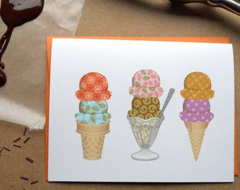 Ice Cream Card--Summer Card: Single Card or Boxed Set
