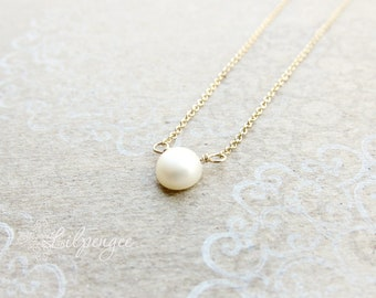 golden too - single pearl necklace. sterling silver or gold chain