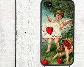 iphone 6 case Valentine iPhone Case - iPhone 4 and 4s Cover - Cherubs with Hearts - Valentine's Day