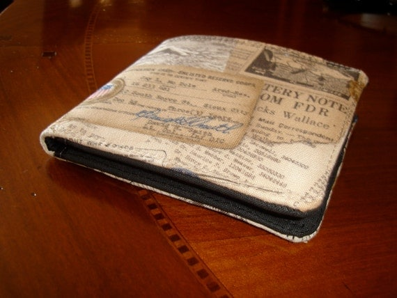 Mens wallet military -  billfold wallet - vintage style military memorabilia print - water resistant lining - keeps cash dry