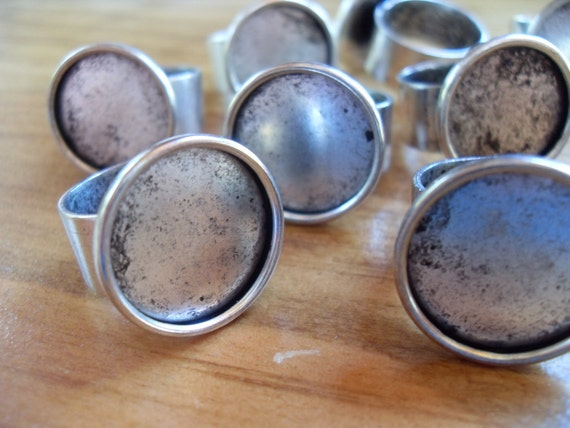 9 Silver Plated 18mm Circle Adjustable Ring Blanks