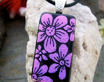 Hand Etched Dichroic Pendant, Pink Flowers, Fused Glass Jewelry, Dichroic Necklace