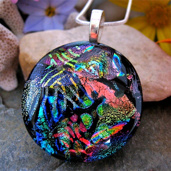 Round Dichroic Glass Pendant, SPECTACULAR Dichroic Fused Glass Necklace, Unique Dichroic