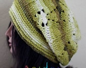 SALE Variegated Green and White Slouchy Hat Tam