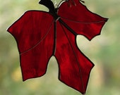 Stained Glass Red Maple Leaf