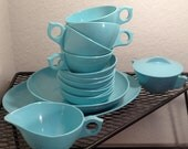 Mid Century Tiffany Blue Melamine Coffee Set - 20 piece set