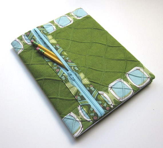 Refillable Fabric Covered Lined Notebook / Blank Book Journal -  Green and Aqua