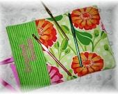 Crochet Hook Wrap Pink Orange Flowers