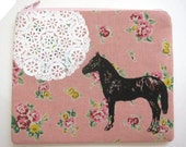 Pouch Horse and Lace on Pink Floral Linen