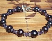 Freshwater Peacock Pearl, Czech Glass, Swarovski Crystal, sterling Silver bracelet