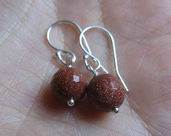 Gold stone  sterling silver earrings, simple brown earrings, dangle earrings, everyday earrings
