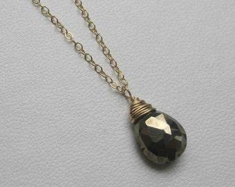 Pyrite briolette necklace
