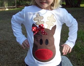 Girl Reindeer Christmas Appliqued Tee