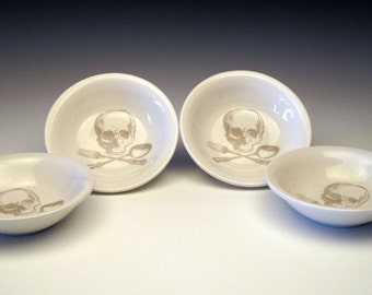 skull Set of 4 DIPPING Bowls in Ghostie Grey