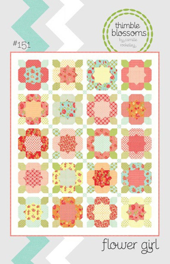 Flower Girl quilt pattern from Thimble Blossoms - fat quarter friendly twin quilt