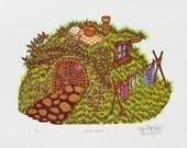 Grass House Woodcut