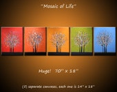 Rainbow Art Original Abstract Modern Large Tree Paintings, 5 separate canvases, 70 x 18, ready to hang, by Amy Giacomelli