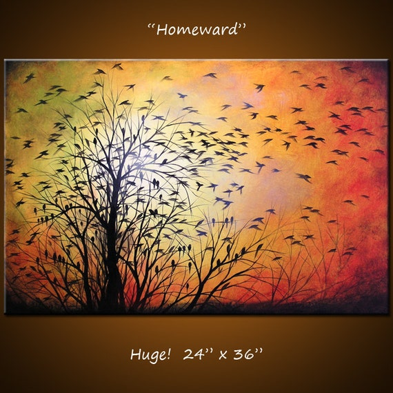 "Original Large Abstract Painting Modern Contemporary Landscape Trees ... 24 x 36 ... ""Homeward"" by Amy Giacomelli"