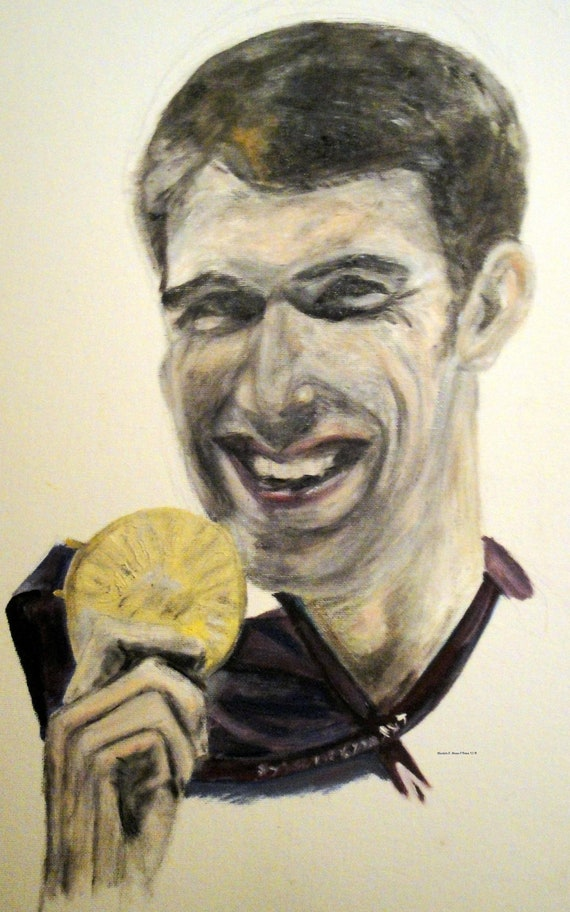 Michael Phelps Greeting Card  (5 x 3) with Envelope Included