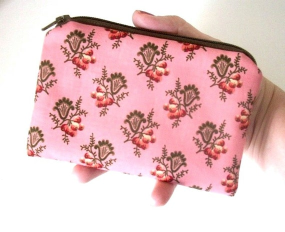 SALE Pink Little Zipper pouch Coin purse Gadget Case Eco Friendly Padded - Pink Berry