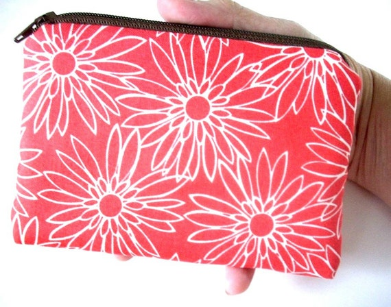 CLEARANCE SALE Coral Coin Purse Zipper pouch Gadget Case Padded Eco Friendly - Flowers on Coral