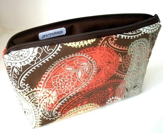 Large Paisley Flat Bottom Zipper Pouch Gadget Case ECO Friendly Padded Cosmetic Bag