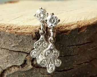 Vintage Petal Diamond Earrings