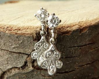 Vintage Petal Diamond Earrings