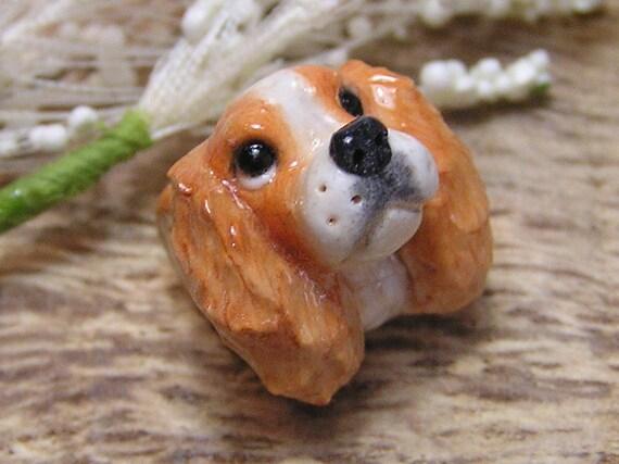 Cavalier King Charles Spaniel  Blenheim Polymer Clay Dog European Charm Nanjodogz Big Hole Bead