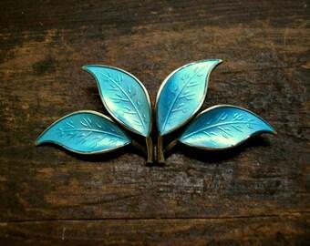 David Andersen Blue Leaf Sterling Enamel Brooch Gold Wash
