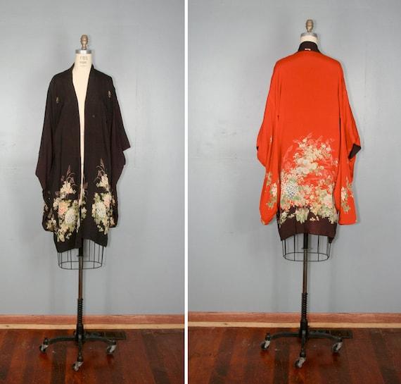 vintage . silk . REVERSIBLE . haori . kimono . furisode . robe