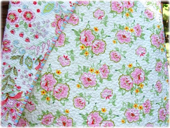 SALE Baby Girl Quilt Pink Heather Bailey, Dena Designs fabrics