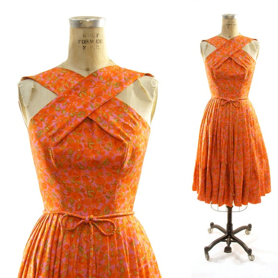 50s Silk Cocktail Dress with Pleated Skirt /  Handmade / Floral Tangerine