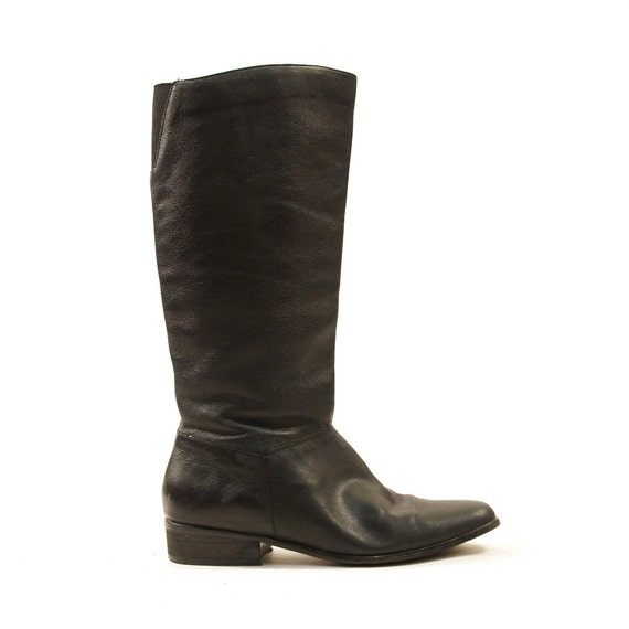 80s soft leather knee high boots with flat heel by