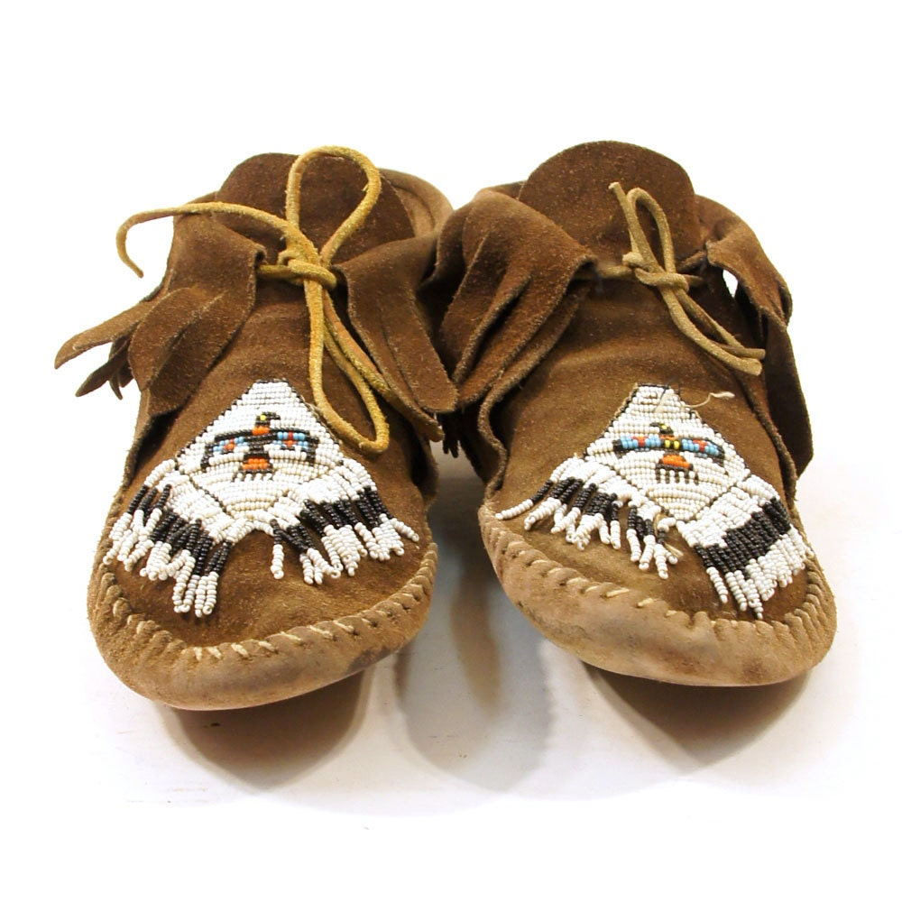 70s Beaded Fringe Ankle Moccasins In Cocoa Brown Suede
