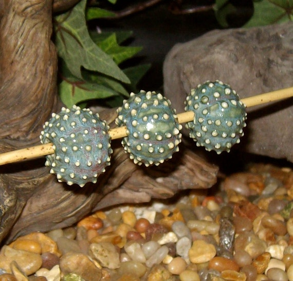 3 Sea Urchin porcelain beads for necklace or jewelry creations in slate cactus green - by Earth N Elements Pottery