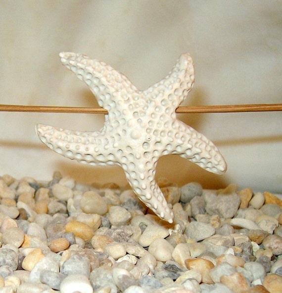 White ceramic starfish focal bead handmade organic style unglazed natural finish porcelain pottery