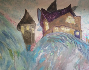 "Original painting, ""Enchanted Mountain"""