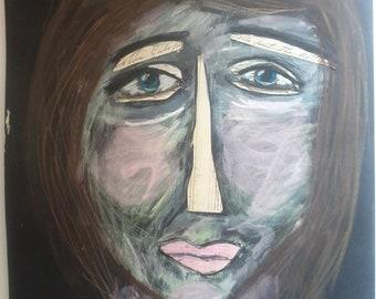 "Original painting/collage, ""Sadness"""