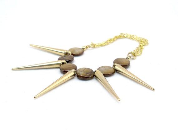 Spike Jewelry - Shell Spike Bracelet, Geometric Bracelet, Stretch bracelet, multi chain bracelet, edgy jewelry