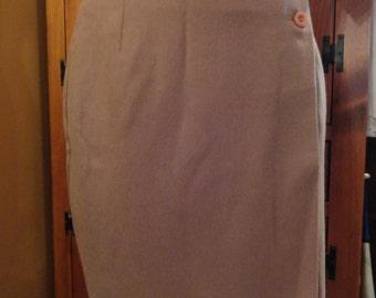 Wool Wrap Around Skirt Beige Color Silky Lining Knee Length sz 12