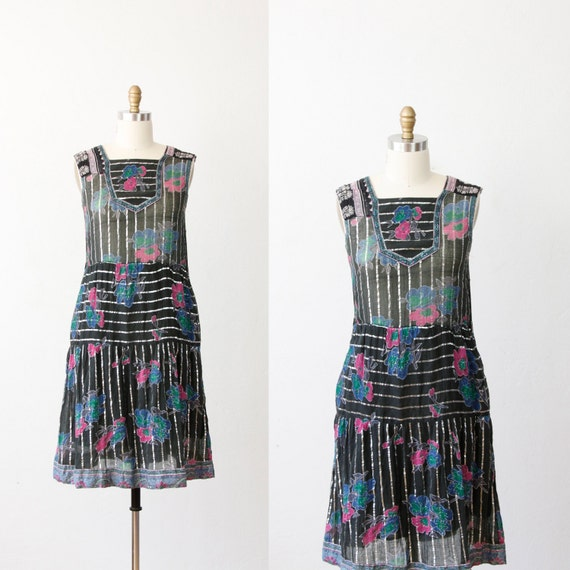 Black Floral India Dress with Metallic Silver