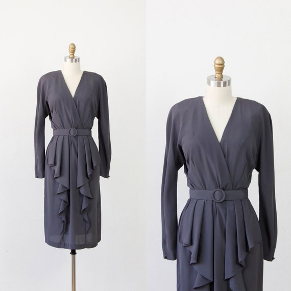 Charcoal Ruffle Vintage Dress with Belt