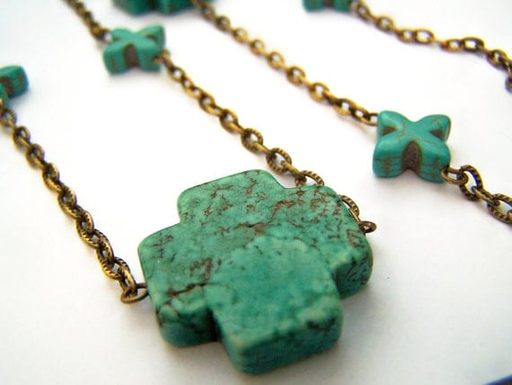 Turquoise Cross Necklace - Crosses - Stone Cross Beads & Antiqued Brass Chain - Long Turquoise Necklace - Boho Style