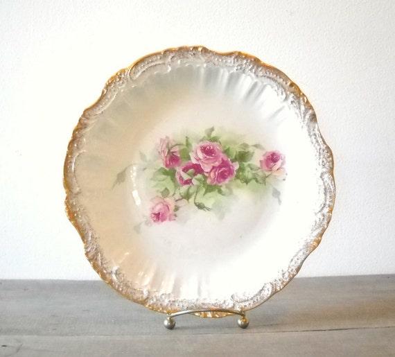 Antique Porcelain Plate Sevres France Pink Roses Gold Trim