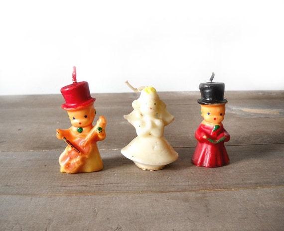 3 Gurley Christmas Candles Carolers Angel