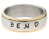 Stainless Steel Ring with any Name or Phrase up to 18 Letters - Sizes 4 to 15