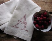 cotton/linen blend hemstitched custom hand-embroidered monogram hand towel