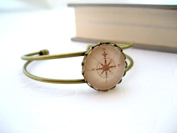LAST ONE Map Compass Bangle Bracelet