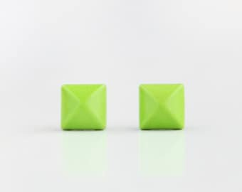 Neon Green Geometric Pyramid Metal Stud Earrings. Surgical Steel Earrings Post. Gift for Her